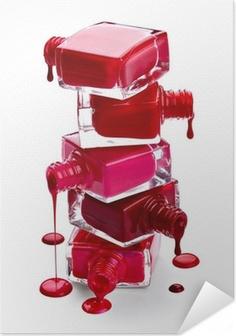 Zelfklevende Poster Flessen met gemorst nagellak