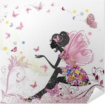Zelfklevende Poster Flower Fairy in het milieu van de vlinders
