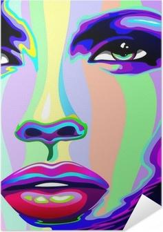Zelfklevende Poster Girl's Portrait Psychedelic psychedelische-Face Girl
