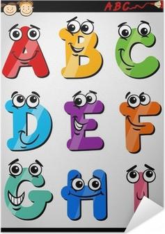 Zelfklevende Poster Grappige brieven alfabet cartoon illustratie