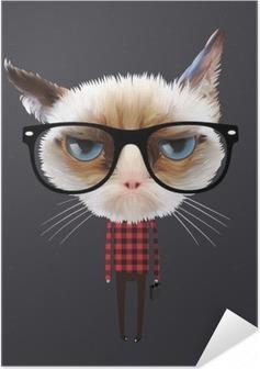 Zelfklevende Poster Grappige cartoon kat, vectoreps10 illustratie.