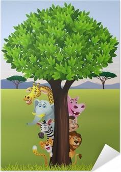 Zelfklevende Poster Grappige safari dieren cartoon
