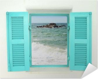 Zelfklevende Poster Griekse stijl venster met uitzicht op zee