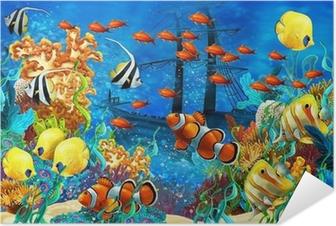 Zelfklevende Poster Het koraalrif - illustratie voor de kinderen