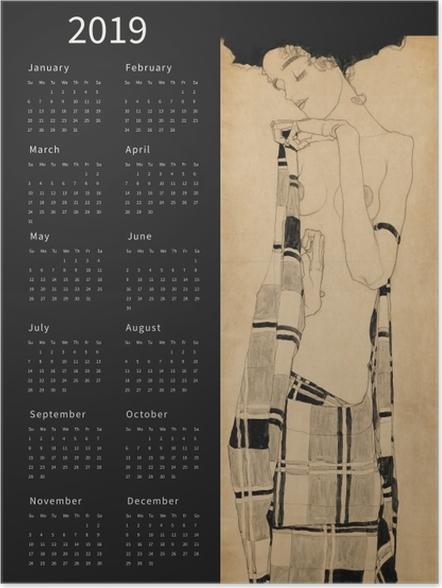 Zelfklevende Poster Kalender 2019 - dromerige vrouw -