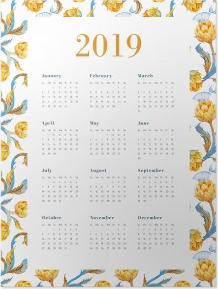 Zelfklevende Poster Kalender 2019 - Gele bloemen -