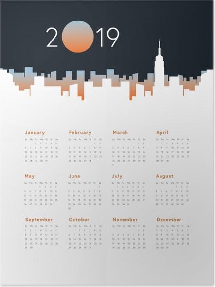 Zelfklevende Poster Kalender 2019 - Panorama van de stad -