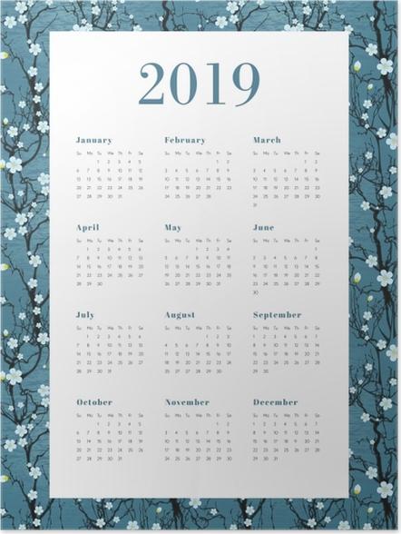 Zelfklevende Poster Kalender 2019 - Witte bloemen -