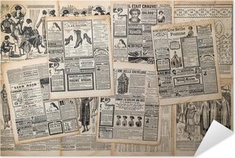 Zelfklevende Poster Krantenpagina's met antieke reclame