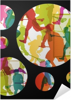 Zelfklevende Poster Lacrossespelers actieve mannen sport silhouetten abstracte backgrou