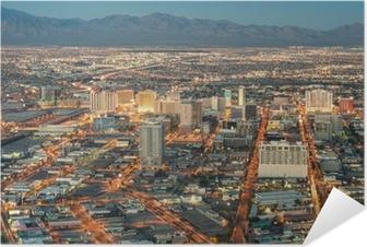 Zelfklevende Poster Las Vegas Downtown - Luchtfoto van generieke gebouwen voor de zon