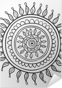 Zelfklevende Poster Mandalapatroon het zwart en wit in vector