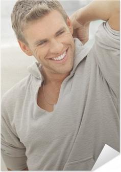Zelfklevende Poster Mannelijk model smile