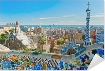 Zelfklevende Poster Park Guell in Barcelona, Spanje.