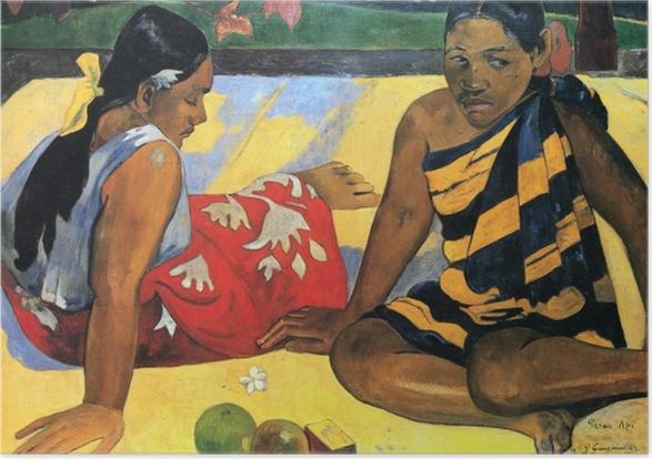 Zelfklevende Poster Paul Gauguin - Twee Tahitiaanse vrouwen - Reproducties