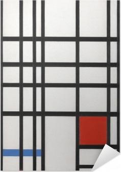 Zelfklevende Poster Piet Mondriaan - Compositie in geel, blauw en rood
