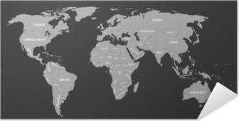 Zelfklevende Poster Politieke kaart van de wereld