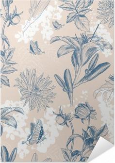 Zelfklevende Poster Retro bloem vector illustratie
