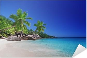 Zelfklevende Poster Strand van Praslin island, Seychellen