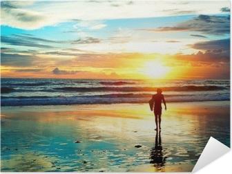 Zelfklevende Poster Sunset Surfer
