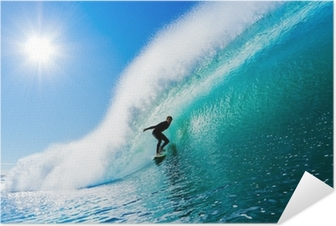 Zelfklevende Poster Surfer op Blue Ocean Wave