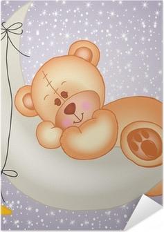 Zelfklevende Poster Teddy beer slapen op een maan