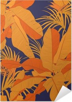 Zelfklevende Poster Trendy tropische stof naadloze patroon, rood palmbladeren op dark navy achtergrond, vector illustratie