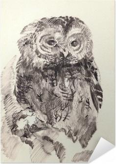 Zelfklevende Poster Uil borstel tekening schets