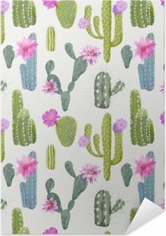 Zelfklevende Poster Vector Cactus achtergrond. Naadloos Patroon. Exotic Plant. Keerkring