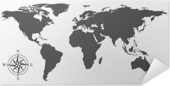 Zelfklevende Poster Vector kaart van de wereld