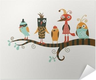 Zelfklevende Poster Vijf grappige vogels