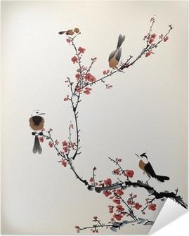 Zelfklevende Poster Vogels schilderen