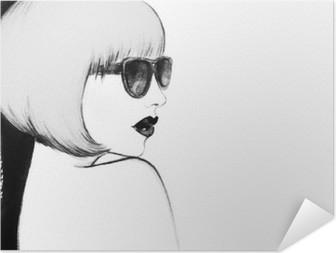 Zelfklevende Poster Vrouw met een bril. waterverfillustratie