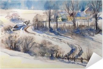 Zelfklevende Poster Winter landschap met weg naar village.Picture gemaakt met aquarellen.