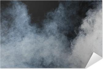 Zelfklevende Poster Witte rook op zwarte achtergrond. Geïsoleerd.