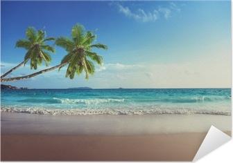 Zelfklevende Poster Zonsondergang op het strand van de Seychellen