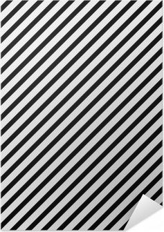 Zelfklevende Poster Zwart-wit Diagonaal Gestreept Patroon Herhalen Achtergrond