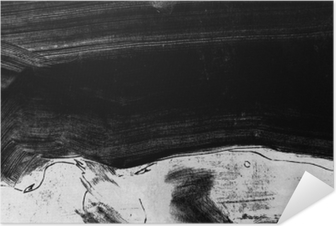Zelfklevende Poster Zwart-wit handgeschilderde achtergrondstructuur met grunge penseelstreken