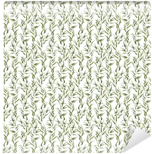 Watercolor green floral seamless pattern with eucalyptus leaves. Hand painted pattern with branches and leaves of eucalyptus isolated on white background. For design or background Vinyl Wallpaper
