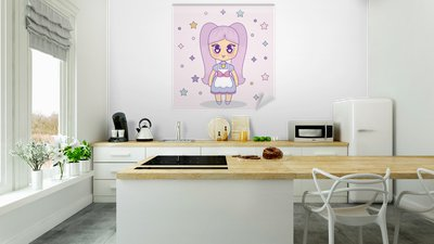 Kawaii Anime Girl With Decorative Stars Around Over Pink Background Colorful Design Vector Illustration Wall Mural Pixers We Live To Change
