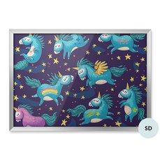 Plakát pro předškoláka - Sladké jednorožci na noční obloze