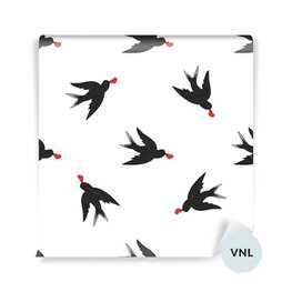 Wall Mural - Hand drawn vintage style black swallows and hearts