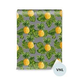 Carta da Parati a Motivi - Ananas e foglie tropicali sfondo