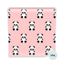 Fototapet för småbarn - Panda mönster på polka prickar