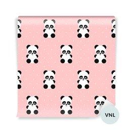 Duvar Resmi küçük çocuk - Pembe bir arka plan üzerinde Pandalar