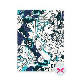 Vinilo para el dormitorio juvenil de chico - Graffiti patrón de colores