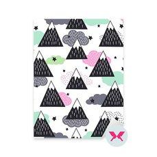Nálepka pro nemluvně - Geometrické zasněžené hory, mraky a hvězdy