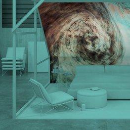 Fototapet till sovrummet - Mörk akvarell i vatten med små bitar av färg