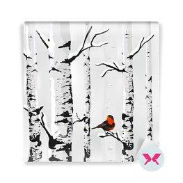 Papier peint - Oiseau et bouleaux