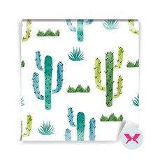 Wall Mural Preschooler - Watercolor cactus pattern